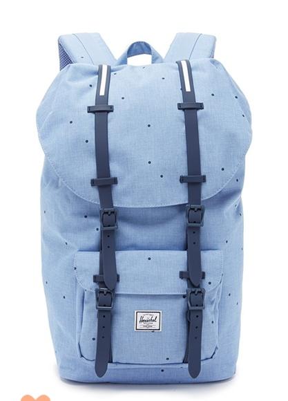 a7345e9e1870 Herschel Little America blu polka dot backpack NWT